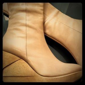 Diane Von Furstenberg Wooden Platform Wedge Boot
